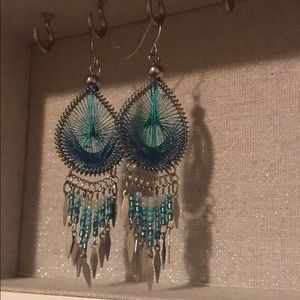 Teal Silver Dream Catcher Earrings